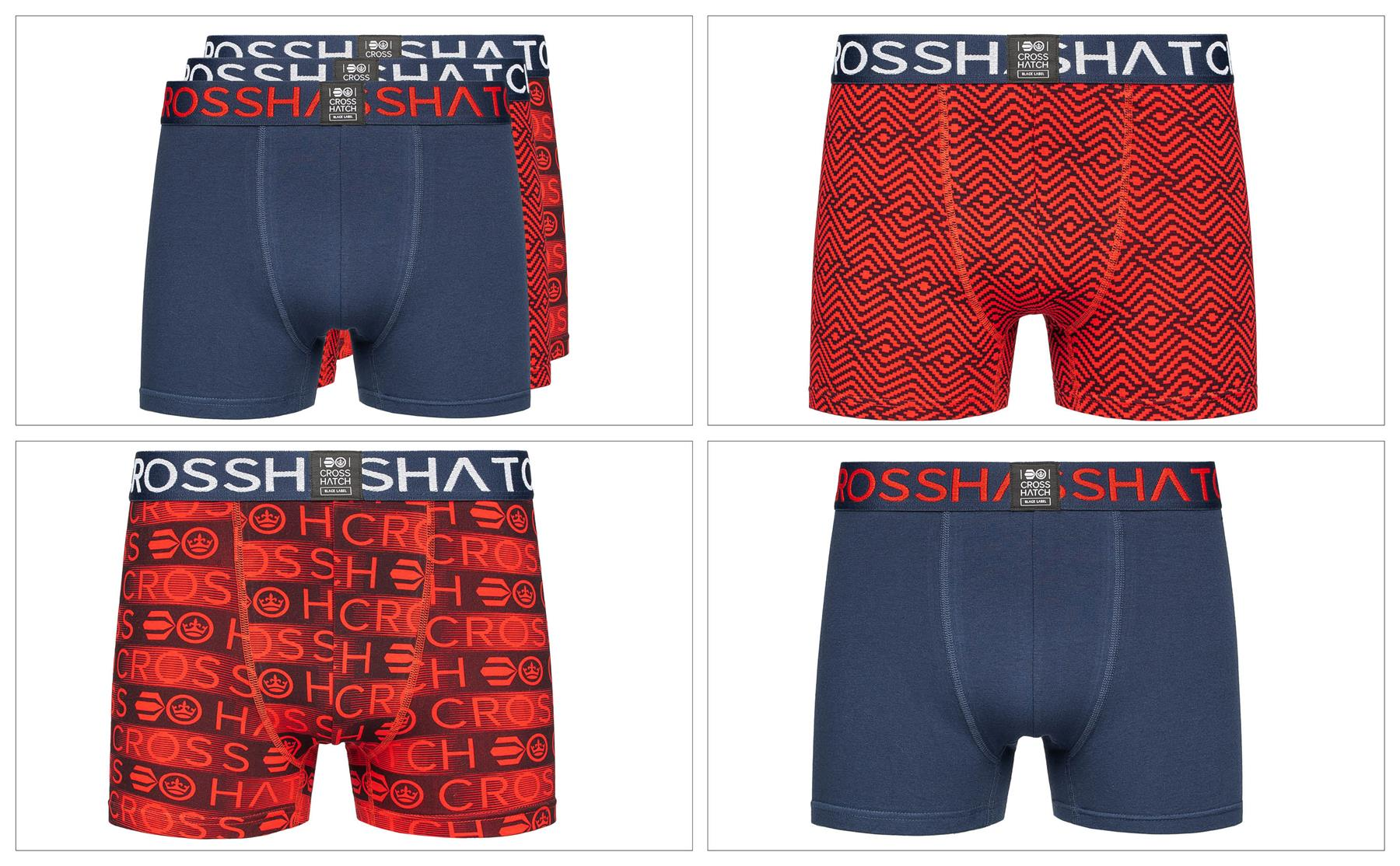 thumbnail 49 - Mens Crosshatch Boxers 3 Pack Shorts Underwear Trunks Underpants Multipack Sets