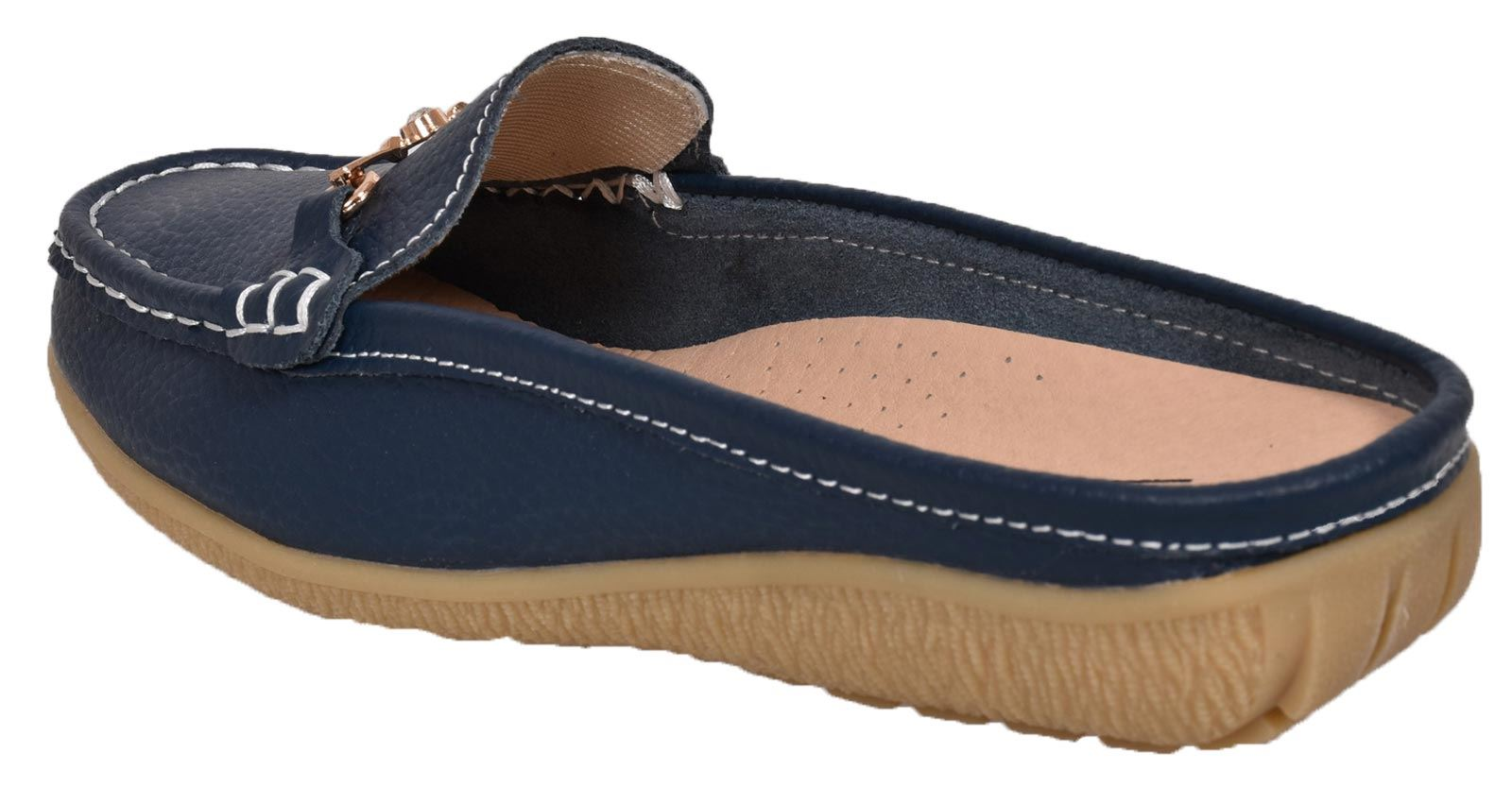 Ladies-Leather-Loafer-Mules-Comfort-Shoes-Womens-Slider-Moccasins-Shoes thumbnail 27