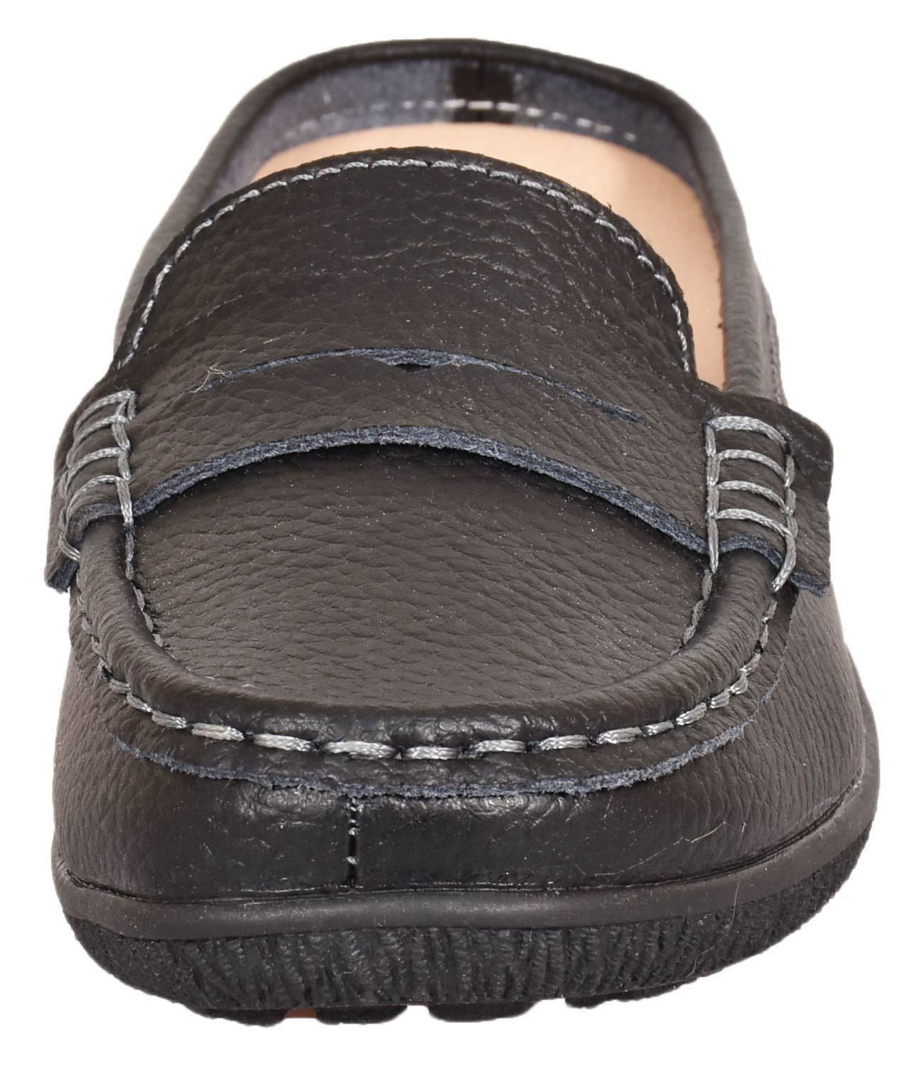 Ladies-Leather-Loafer-Mules-Comfort-Shoes-Womens-Slider-Moccasins-Shoes thumbnail 6