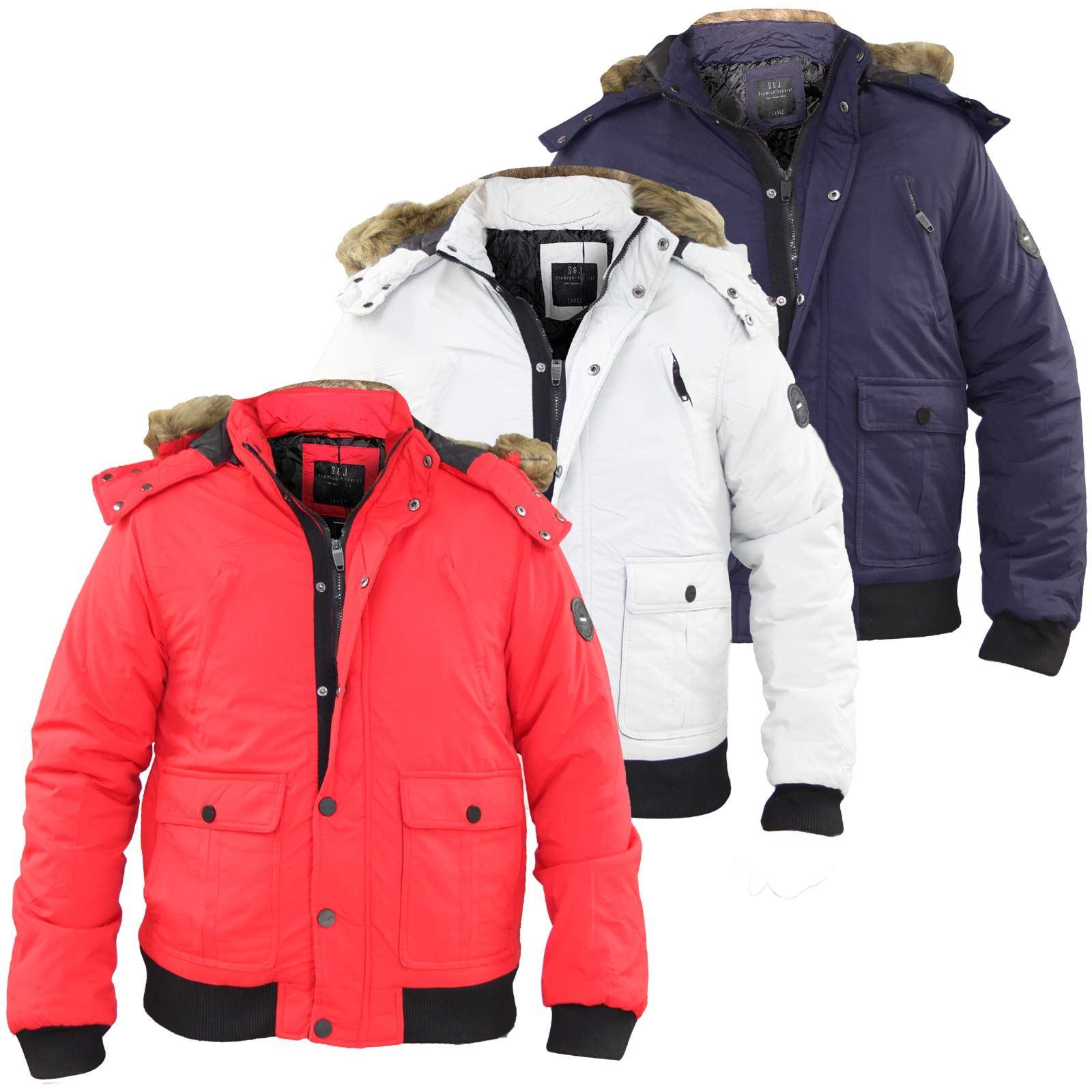 30db89618 Details about New Men Smith & Jones Designer Heavy Padded Fur Trim Zip Hood  Jacket Winter Coat