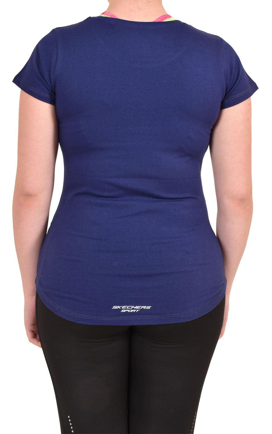 Camiseta-Para-Mujer-Elastico-Damas-Deportes-Skechers-Top-Secado-Rapido-Baile-Fitness-Gym miniatura 9