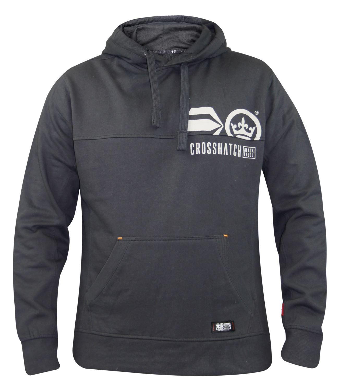 Mens-Crosshatch-Branded-Pullover-Printed-Hoodie-Sweatshirt-Hooded-Top thumbnail 3