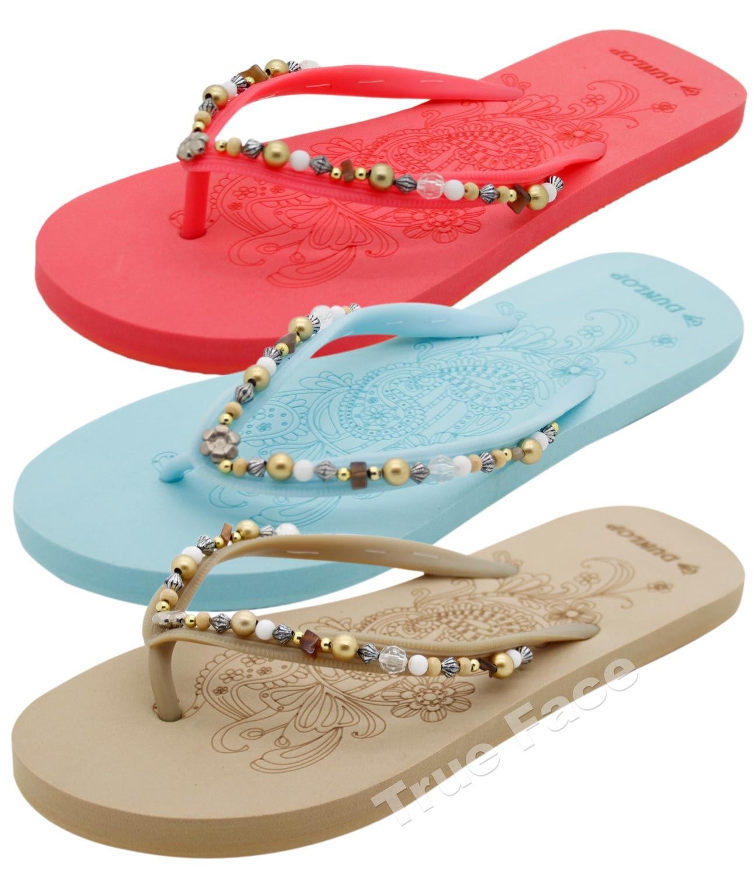 New Ladies Dunlop Beaded Flip Flop Shoes Women Outdoor Mules Summer Toe Post