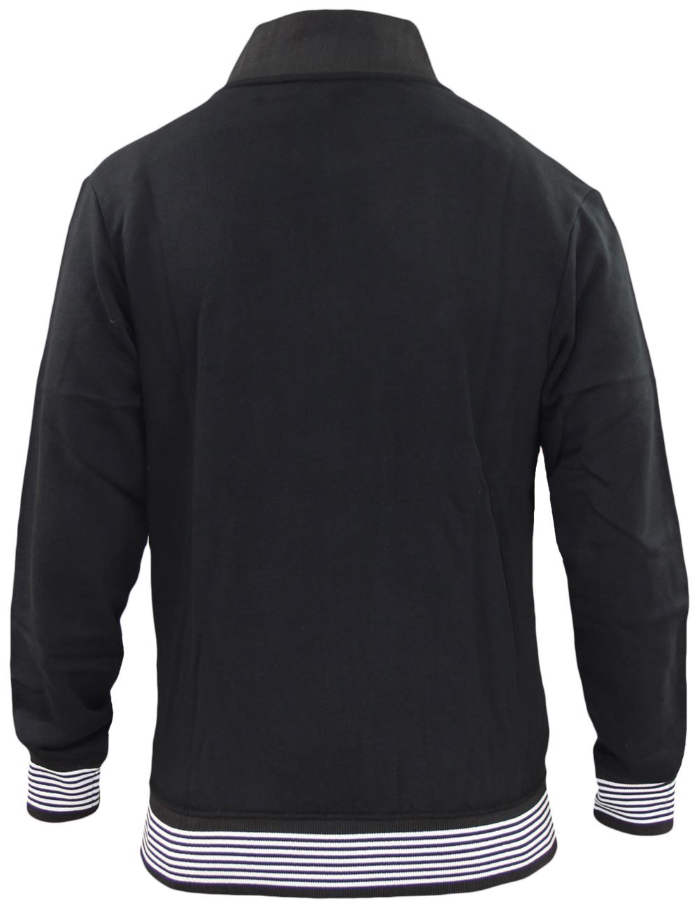 Mens-Jackets-Plain-Striped-Collar-Cuff-Zip-Sweatshirts-Ribbed-Sports-Sweater-Top thumbnail 3