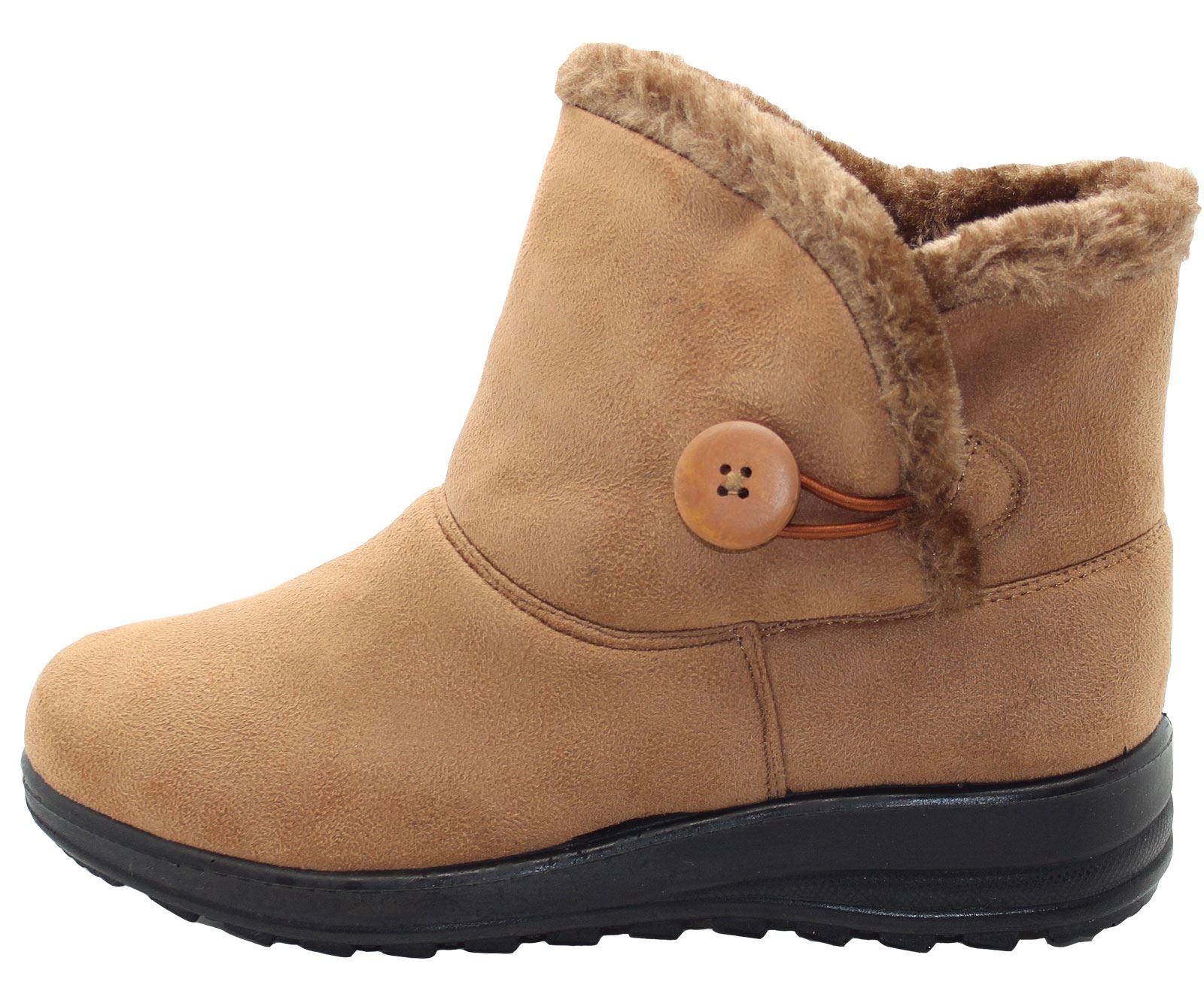 2bd4e1e8c92 Details about Women Winter Ankle Boots Ladies Flat Fur Boots Comfy Snug  Warm Snow Shoes UK
