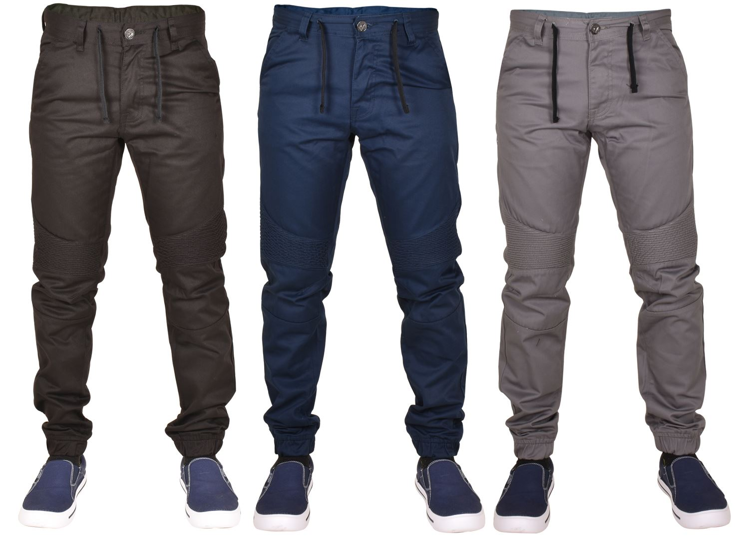 New Enzo Mens Cuffed Chinos Jeans Slim Fit Denim Designer Joggers Trousers Pants