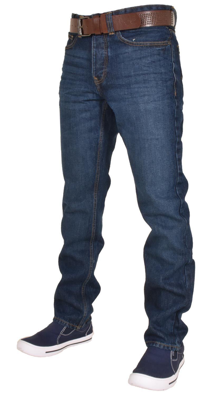 Crosshatch-Men-Jeans-Regular-Straight-Leg-Open-Hem-Trousers-Pants-With-Free-Belt thumbnail 8