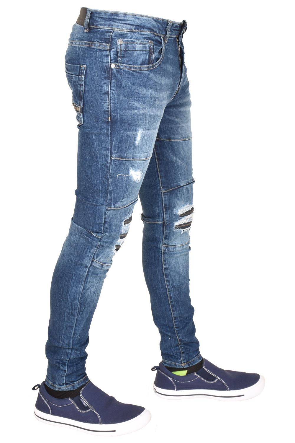 Enzo-Mens-Ripped-Jeans-Skinny-Slim-Fit-Denim-Pants-Casual-Trousers-Size-28-40 thumbnail 10
