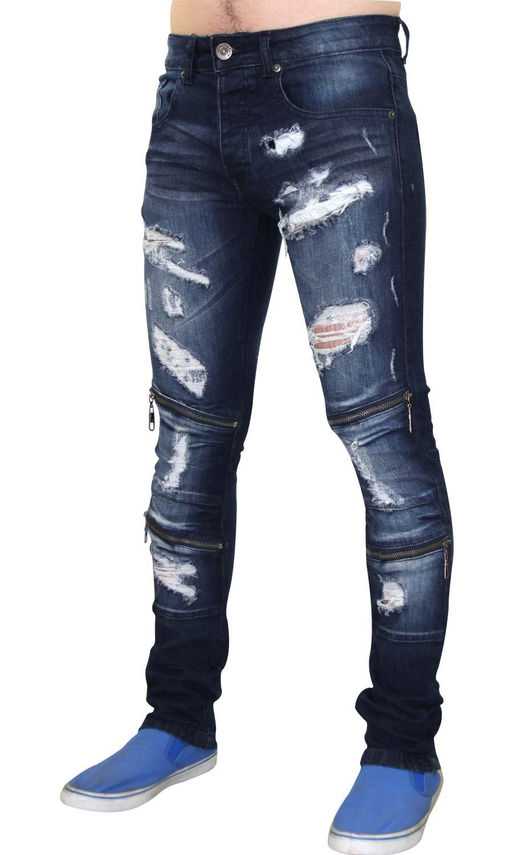 Para-Hombre-Biker-Skinny-Jeans-lealtad-amp-Faith-Slim-Fit-Pantalones-Ajustados-Pantalones-rasgada miniatura 13