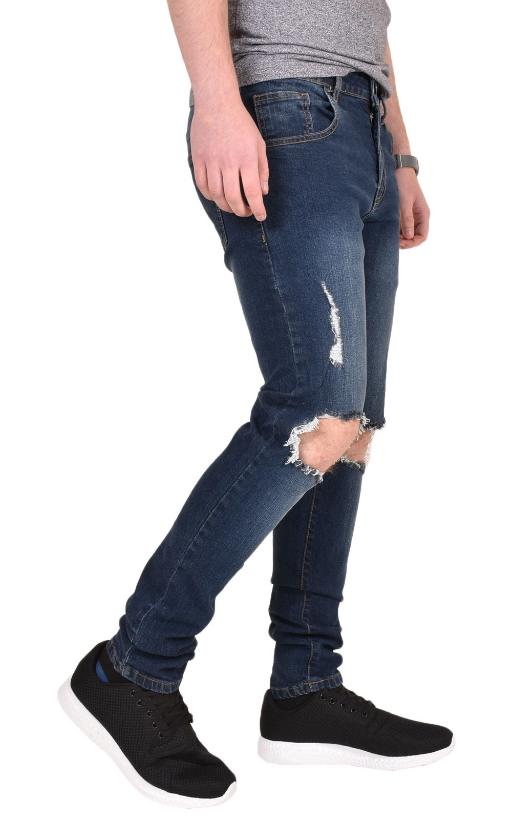 Mens-Ripped-Jeans-Skinny-Slim-Fit-Stretch-Distressed-Denim-Pants-Trousers-28-40 thumbnail 6