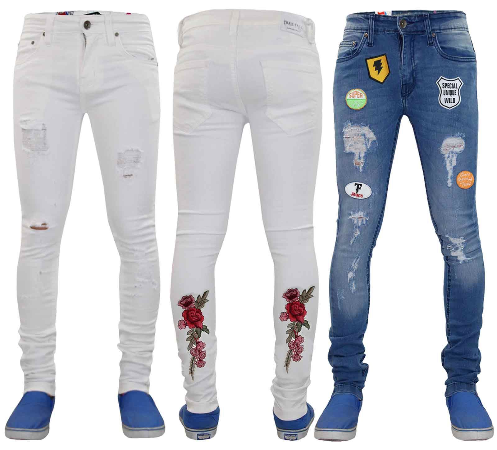 e36b4e285cd True Face Mens Badges Ripped Super Skinny Jeans Slim Stretch Cotton Denim  Pants