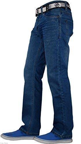 Enzo Mens Jeans Straight Leg Denim Pants Casual Trousers All Waist Big Tall Size
