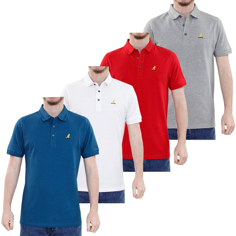 Neue Männer s Kangol Muster Kragen Design 100 % Baumwolle Pique Polo Sommer- T-Shirt Top b08f976a1a