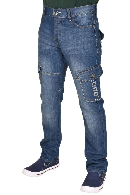 Mens Cargo Jeans Regular Fit Denim Pants Button Fly Combat Pants Flap Pockets