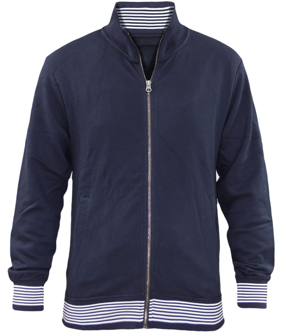 Mens-Jackets-Plain-Striped-Collar-Cuff-Zip-Sweatshirts-Ribbed-Sports-Sweater-Top thumbnail 4