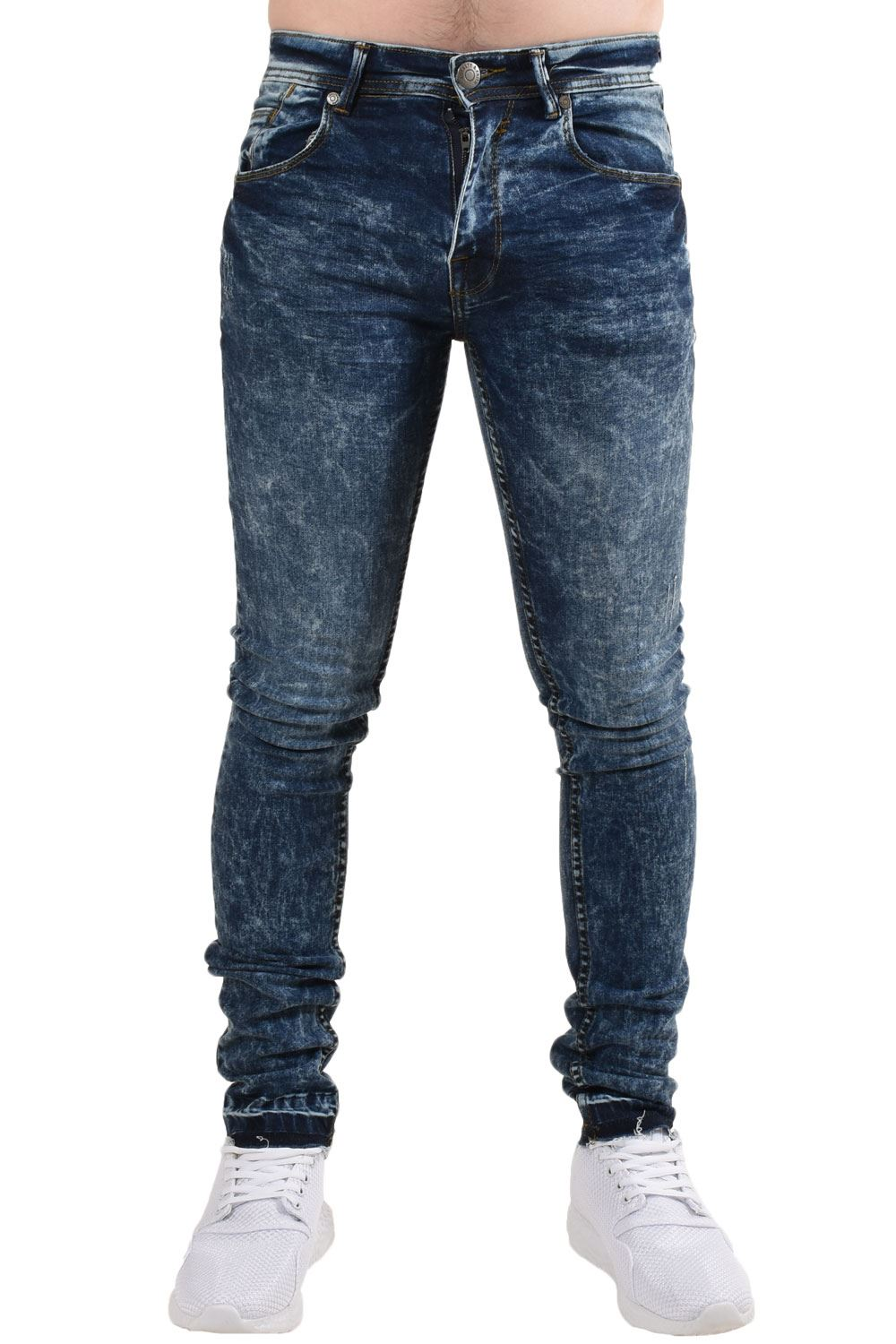 77a3b476fe6 Mens Skinny Jeans Super Stretch Slim Fit Denim Frayed Trousers Pants ...