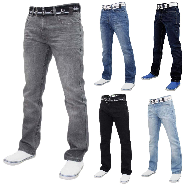 Enzo Mens Regular Fit Jeans Straight Leg Quality Denim Pants Western Style