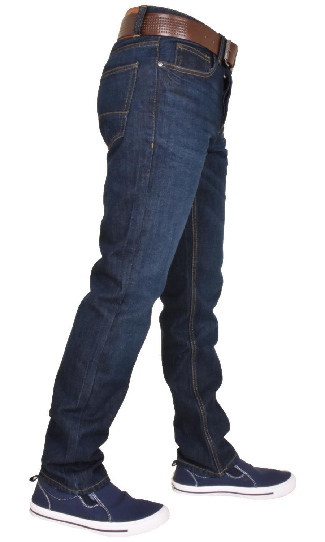 Crosshatch-Men-Jeans-Regular-Straight-Leg-Open-Hem-Trousers-Pants-With-Free-Belt thumbnail 5