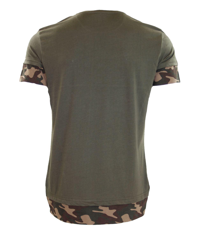 Para-Hombre-Camuflaje-Camiseta-Ejercito-Camiseta-De-Manga-Corta-Camiseta-Tshirts-caqui-XS-S miniatura 3