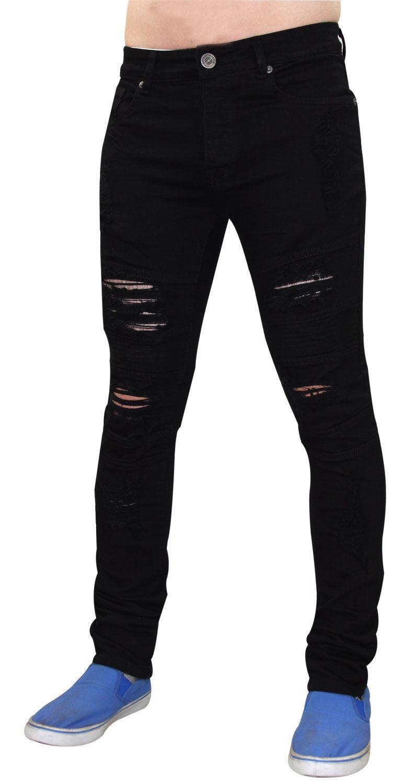 Para-Hombre-Biker-Skinny-Jeans-lealtad-amp-Faith-Slim-Fit-Pantalones-Ajustados-Pantalones-rasgada miniatura 8