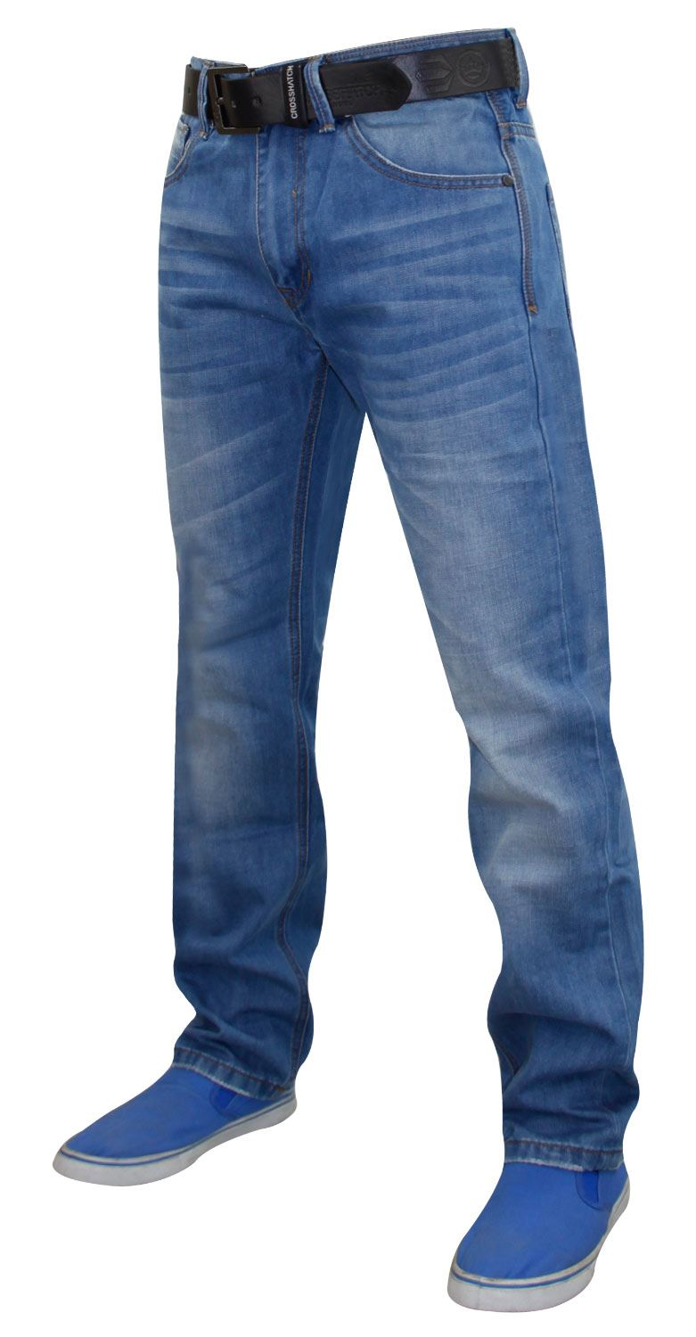 Mens-Straight-Leg-Jeans-Regular-Fit-Denim-Pants-Trousers-With-Free-Leather-Belt thumbnail 12