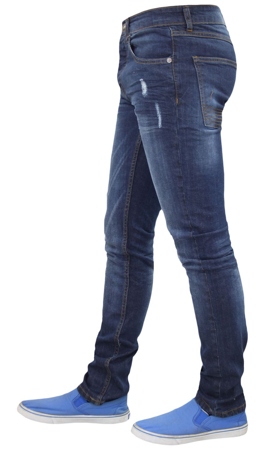 Mens-Skinny-Stretch-Ripped-Jeans-Slim-Fit-Casual-Trousers-Denim-Pants-All-Sizes thumbnail 8