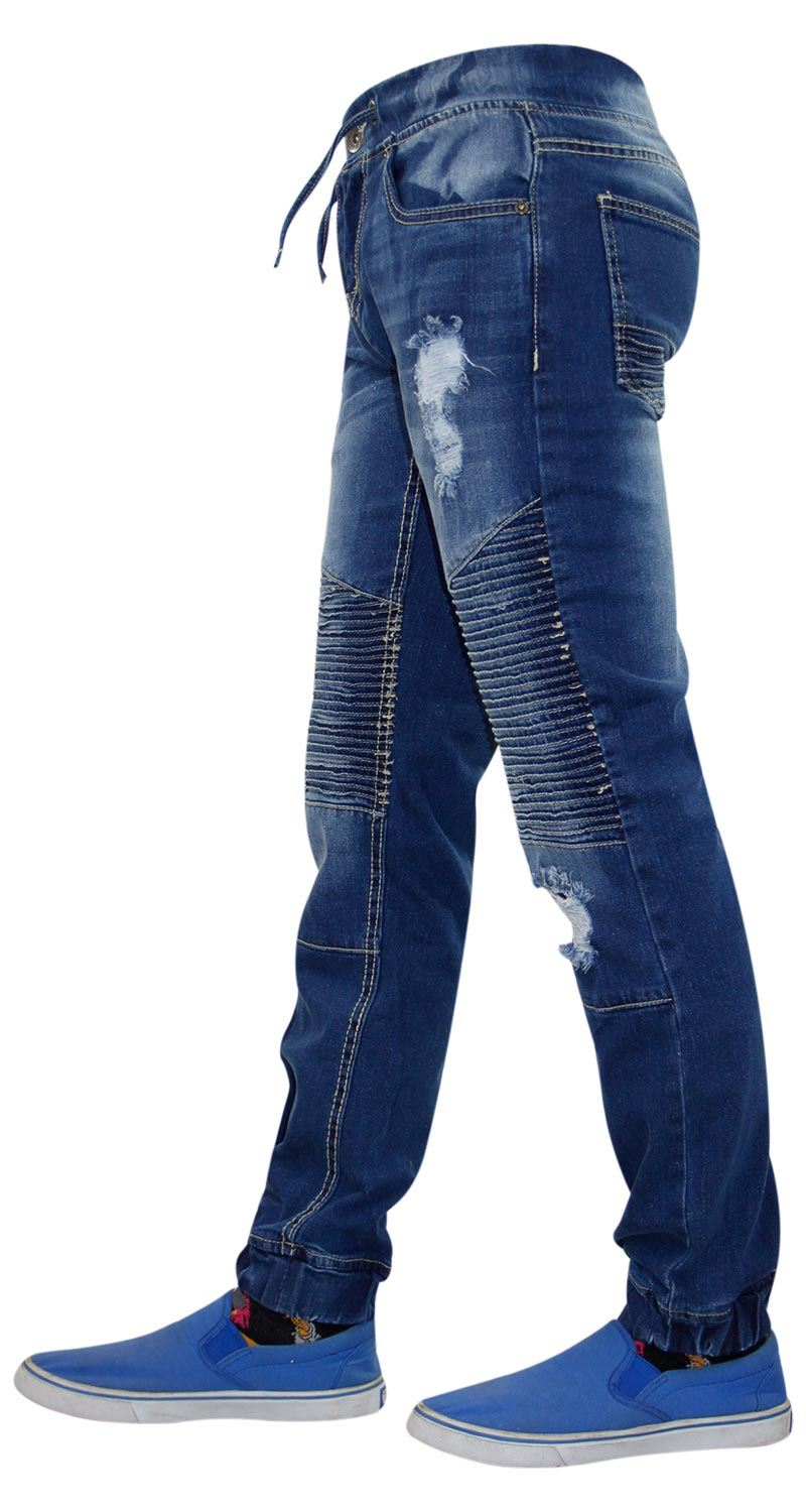 Mens-Ripped-Jeans-Slim-Fit-Distressed-Denim-Biker-Pants-Casual-Cuffed-Trousers thumbnail 11