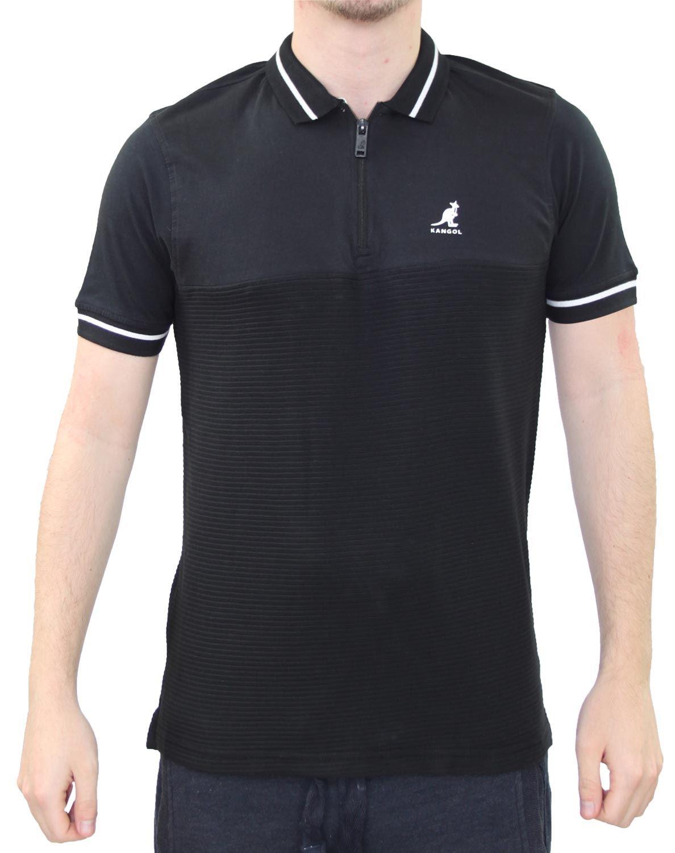 Kangol Men/'s Cotton Pique Polo Shirt Jersey Top T-shirt Navy Grey Red Marl New