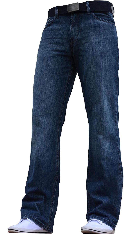 Neu mit Etiketten Herren Weites Bein Bootcut Ausgestellt Blau Schwer Jeans