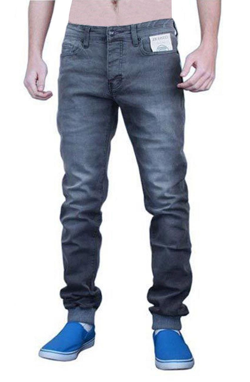 ENZO Mens Jeans Stretch Skinny Slim Fit Cuffed Cotton Denim Pants Trousers