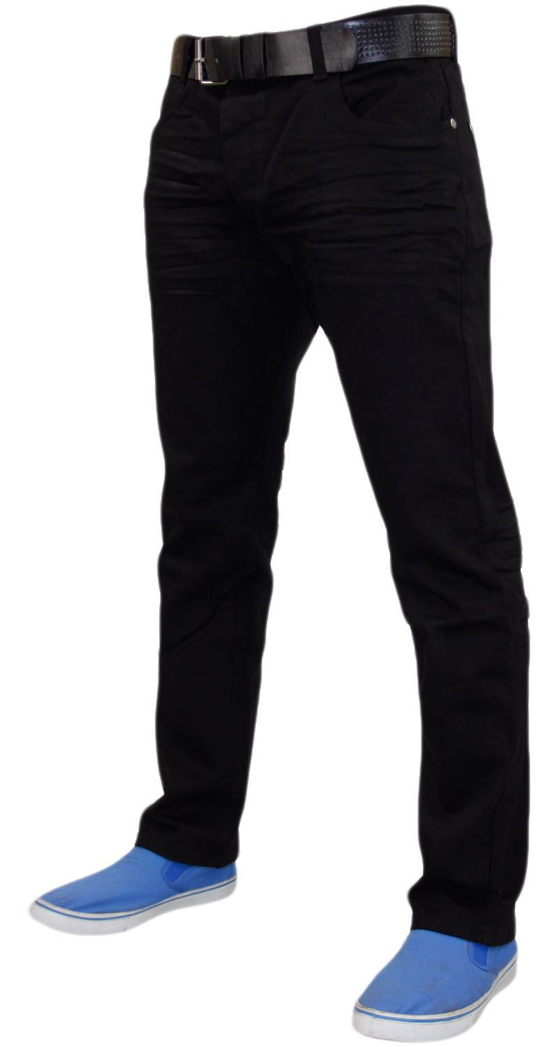 Crosshatch-Mens-Denim-Jeans-Straight-Fit-Stretch-Cotton-Trousers-Pants-Free-Belt thumbnail 4