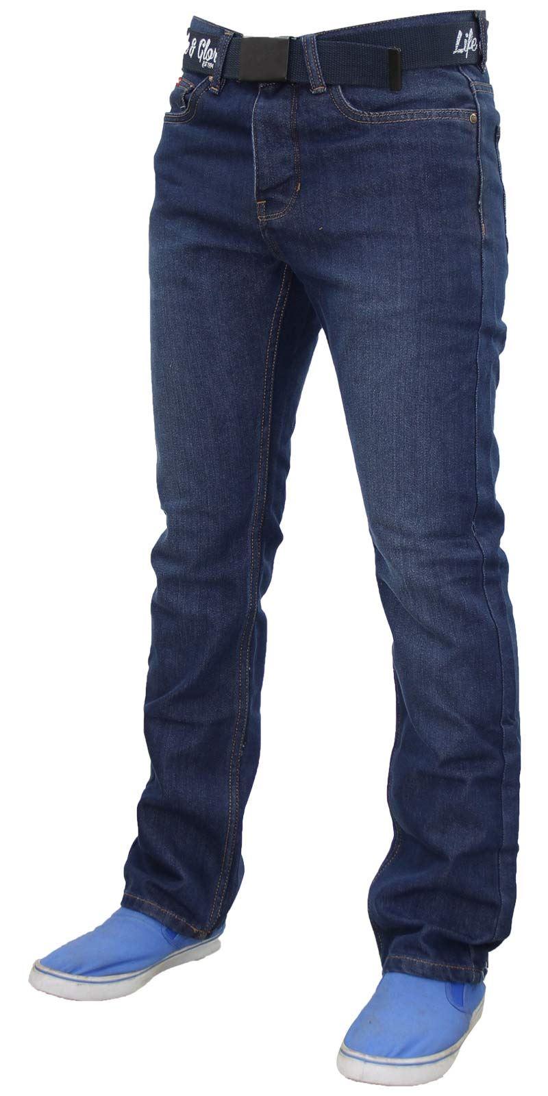 Mens-Regular-Fit-Jeans-Straight-Leg-Denim-Pants-Casual-Trousers-With-Free-Belt thumbnail 9