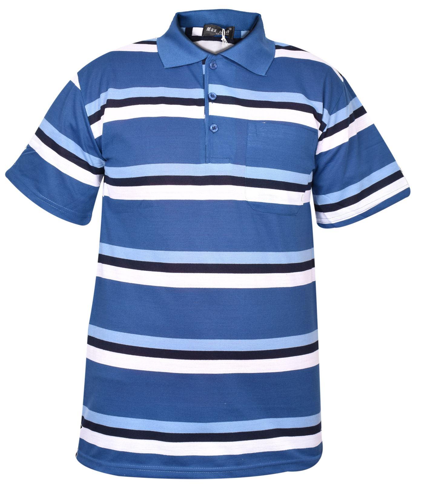 Mens-T-Shirts-Yarn-Dyed-Strip-Pocket-Polo-Shirt-Top-Multi-Colour-Size-M-3XL thumbnail 42