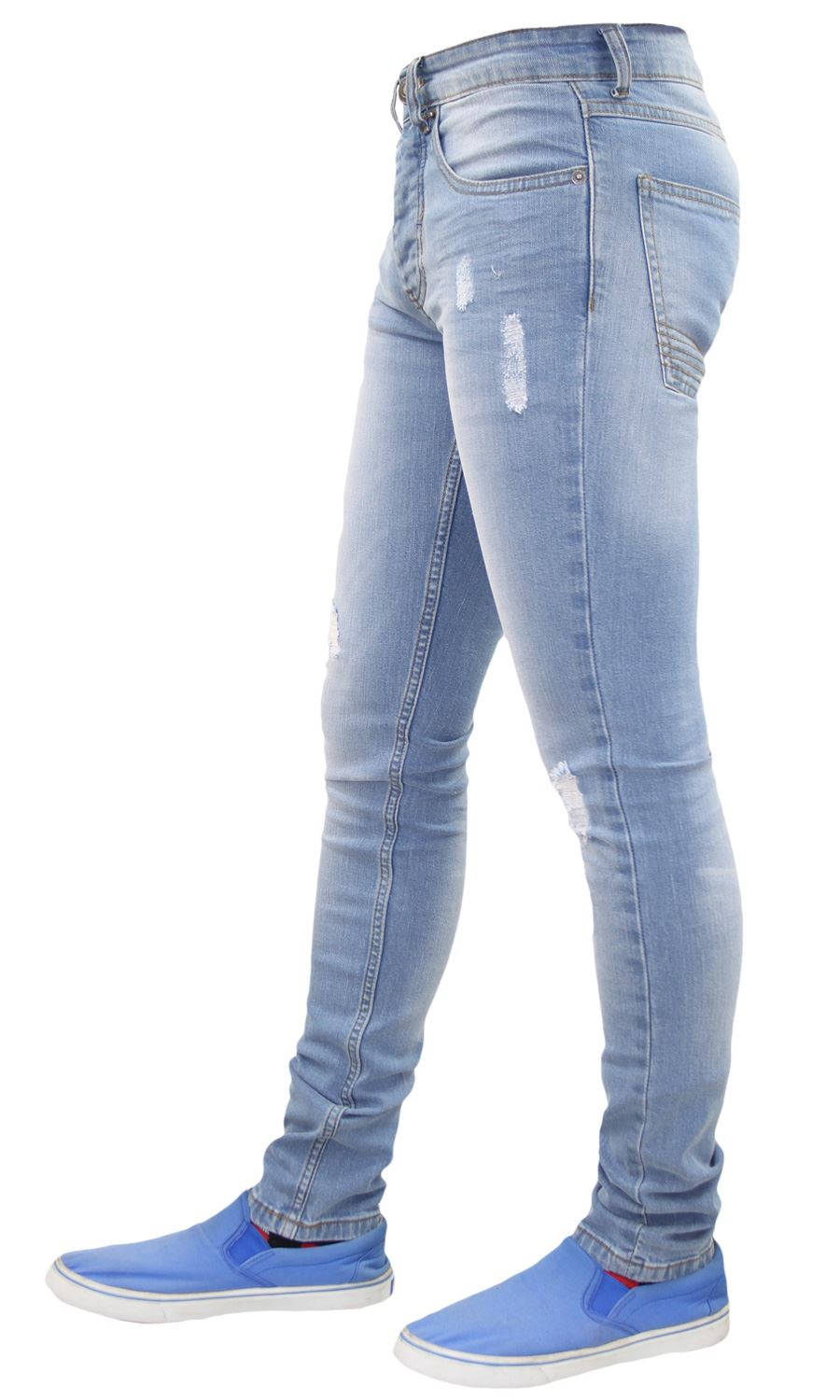 Mens-Skinny-Stretch-Ripped-Jeans-Slim-Fit-Casual-Trousers-Denim-Pants-All-Sizes thumbnail 14