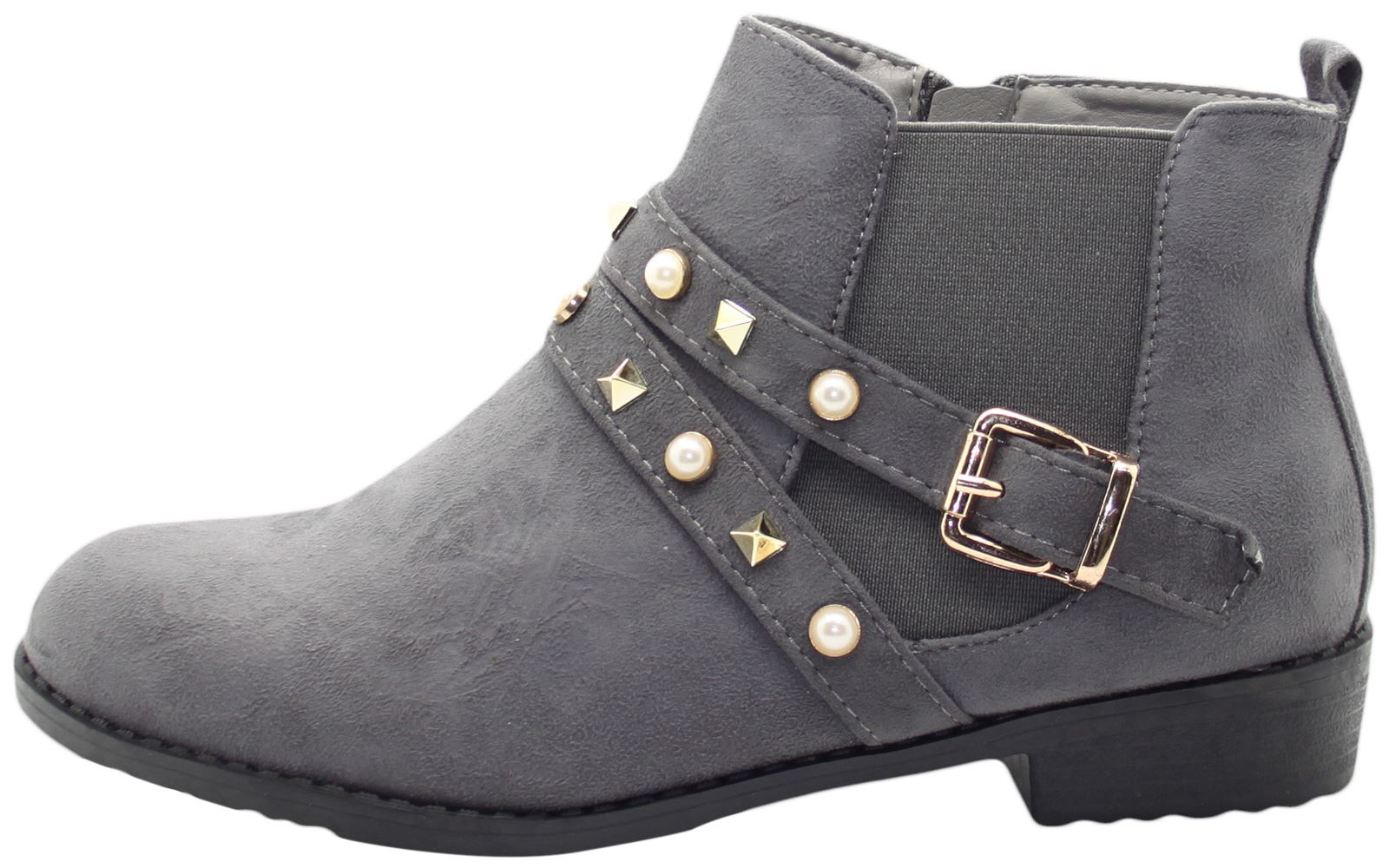 New-Women-Chelsea-Ankle-Boots-Winter-Block-Heel-Ladies-Biker-Style-Boots thumbnail 15