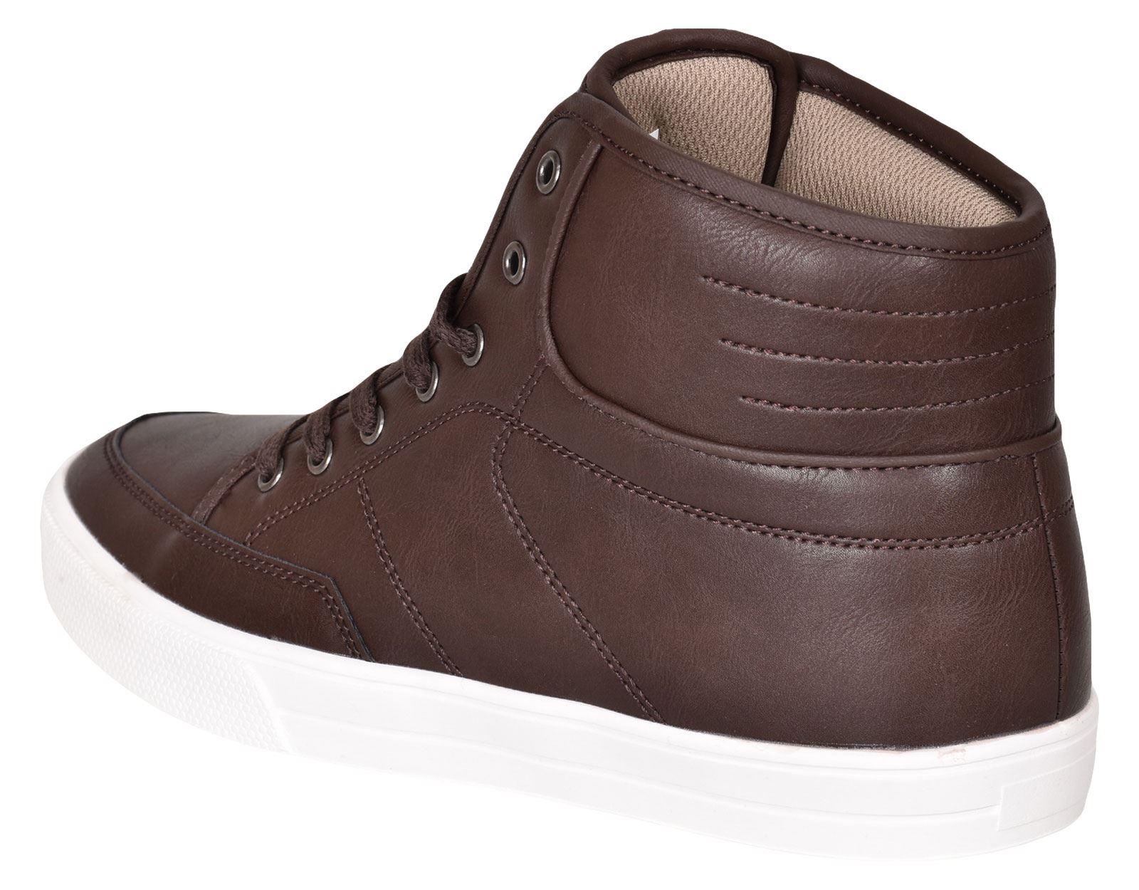 Crosshatch-Para-hombre-Tobillo-Alto-Zapatillas-Sneaker-Con-Cordones-Tapas-Planas-Botas-UK-Tamanos-7 miniatura 52