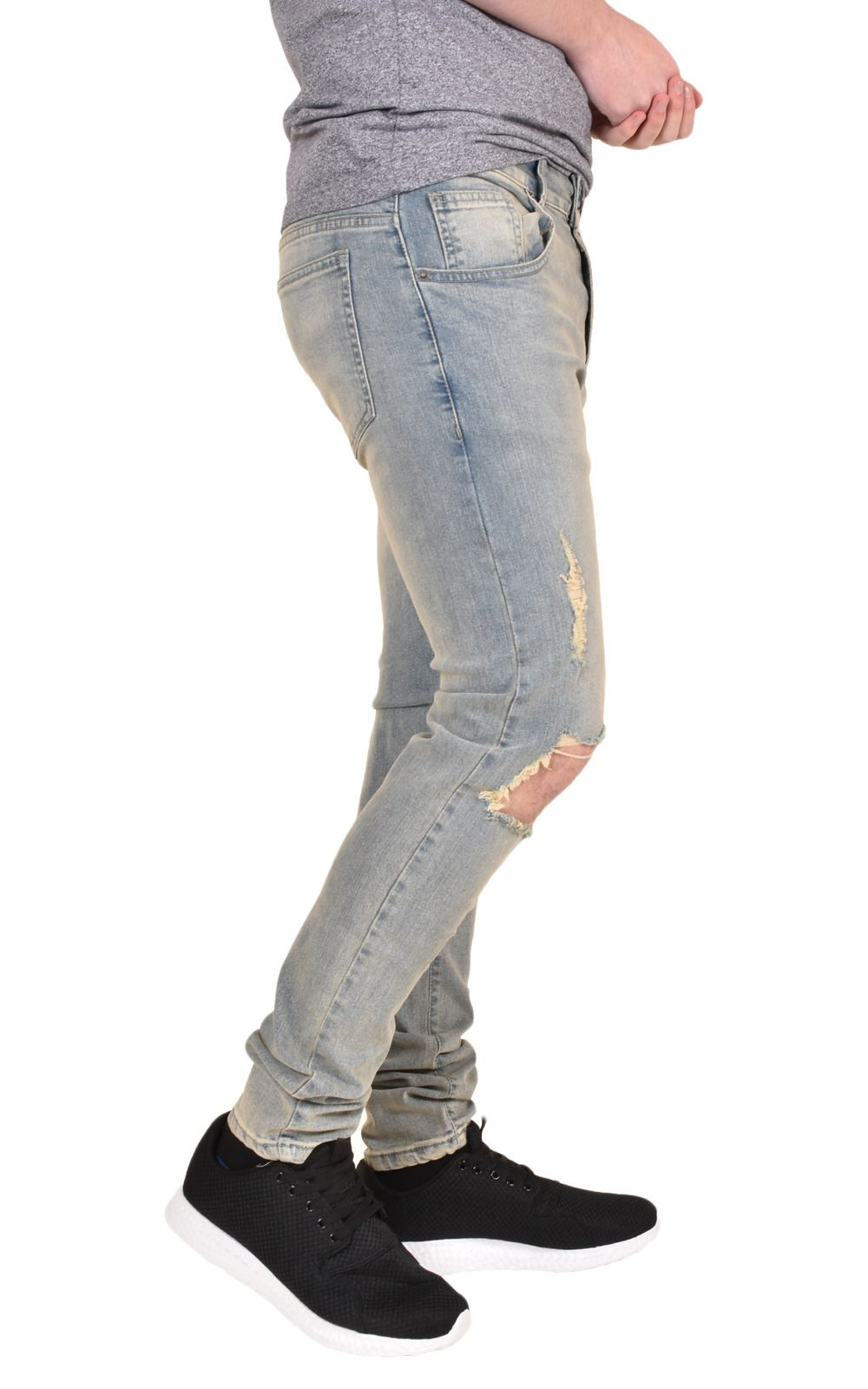 Mens-Ripped-Jeans-Skinny-Slim-Fit-Stretch-Distressed-Denim-Pants-Trousers-28-40 thumbnail 11