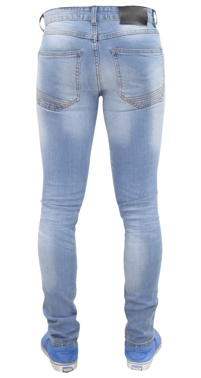 Mens-Skinny-Stretch-Ripped-Jeans-Slim-Fit-Casual-Trousers-Denim-Pants-All-Sizes thumbnail 15