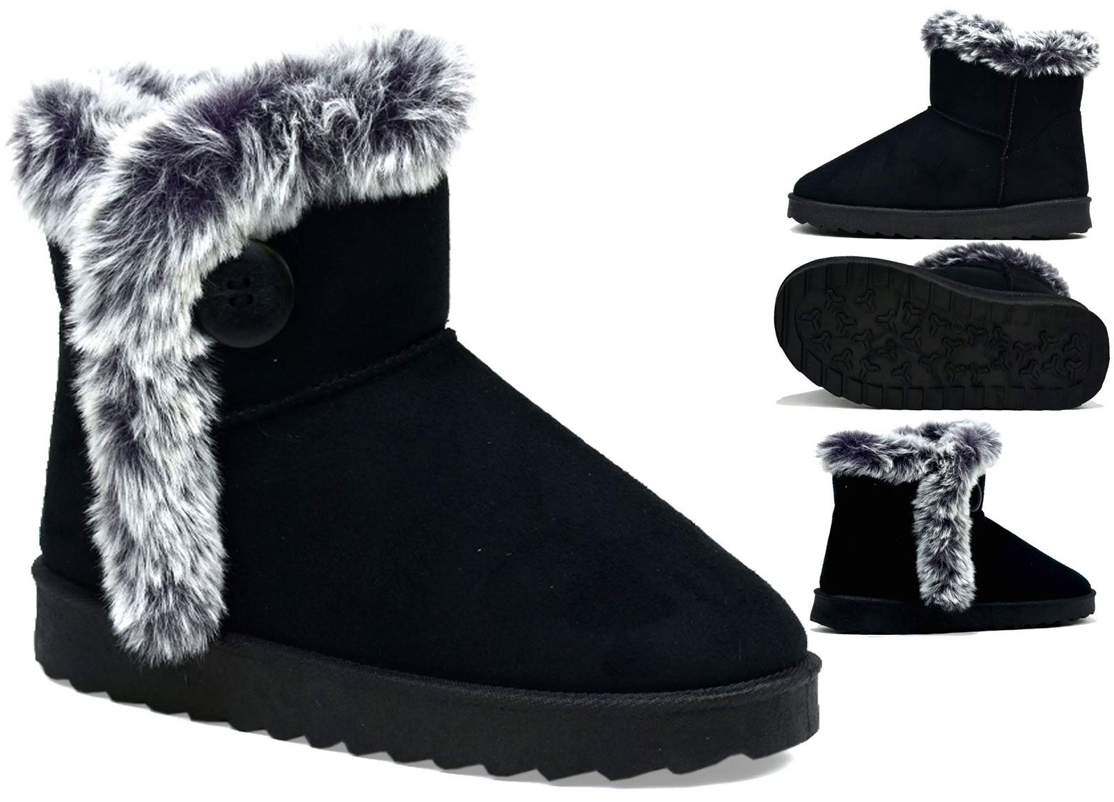 Ladies Womens Winter Fur Snow Flat Comfy Boots Casual Designer Shoes Size 3-8
