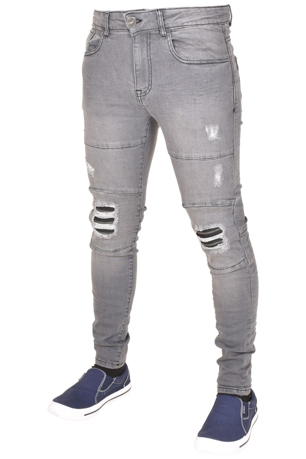 Enzo-Mens-Ripped-Jeans-Skinny-Slim-Fit-Denim-Pants-Casual-Trousers-Size-28-40 thumbnail 3