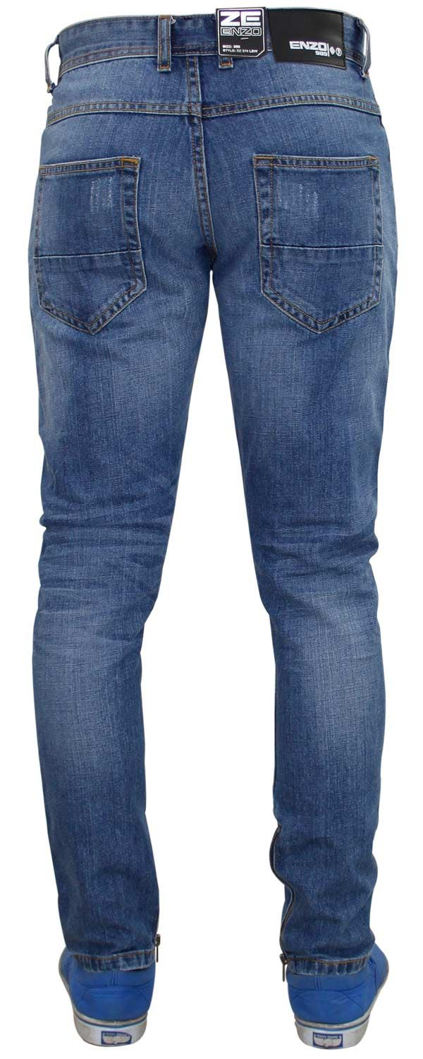 Men Enzo Designer Skinny Fit Ripped Style Quality Denim Ankle Zip ... 33976f6de4