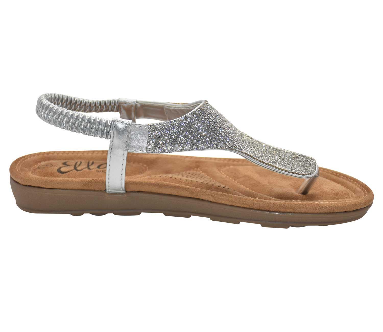 Mujer Adornado T Detalles Barra De Sandalias Tira Dedo Cómodos Acolchada Zapatos Trasera SUpMzV
