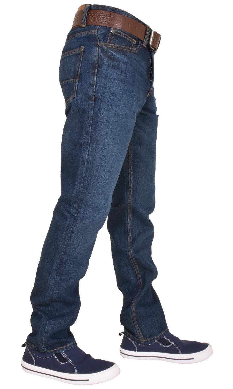 Crosshatch-Men-Jeans-Regular-Straight-Leg-Open-Hem-Trousers-Pants-With-Free-Belt thumbnail 7