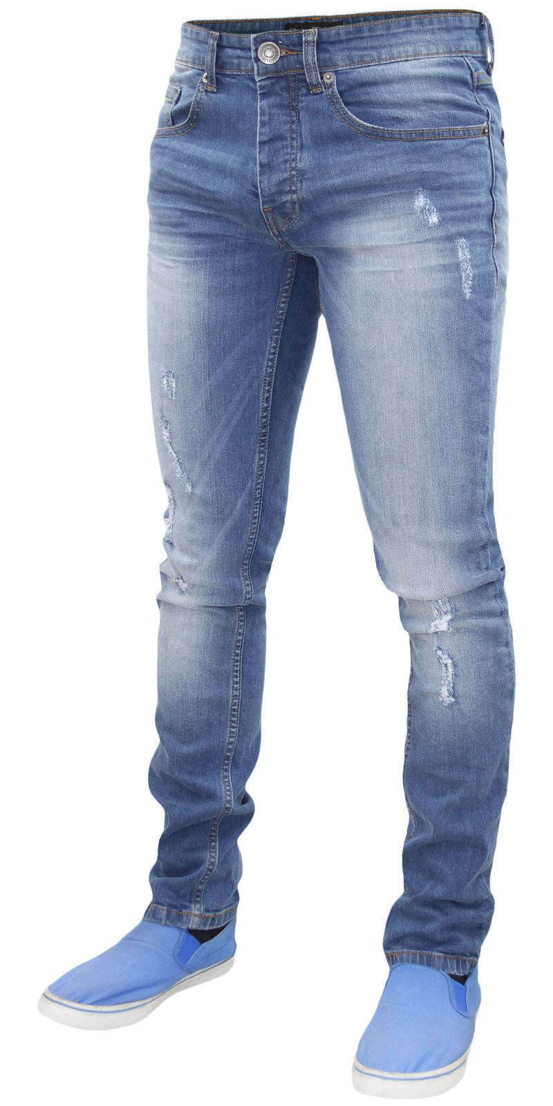 Mens-Skinny-Stretch-Ripped-Jeans-Slim-Fit-Casual-Trousers-Denim-Pants-All-Sizes thumbnail 18