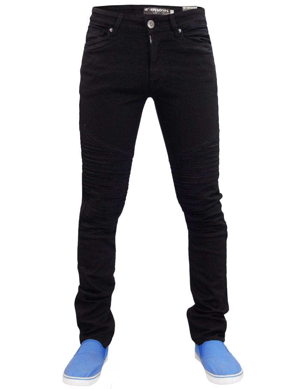 Men-Skinny-Jeans-Stretch-Slim-Fit-Zip-Fly-Denim-Biker-Pants-Trousers-Sizes-28-38 thumbnail 3