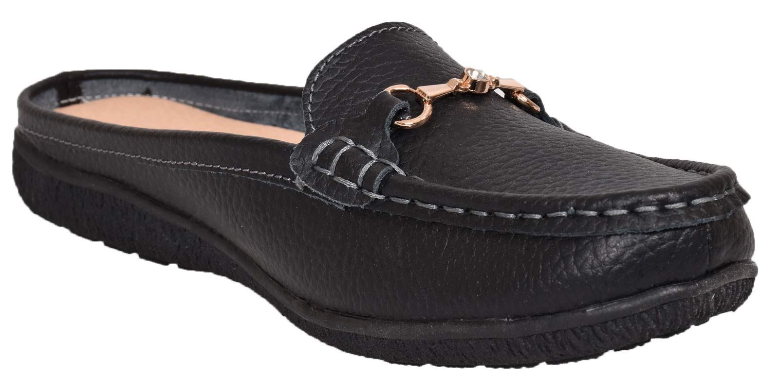 Ladies-Leather-Loafer-Mules-Comfort-Shoes-Womens-Slider-Moccasins-Shoes thumbnail 15