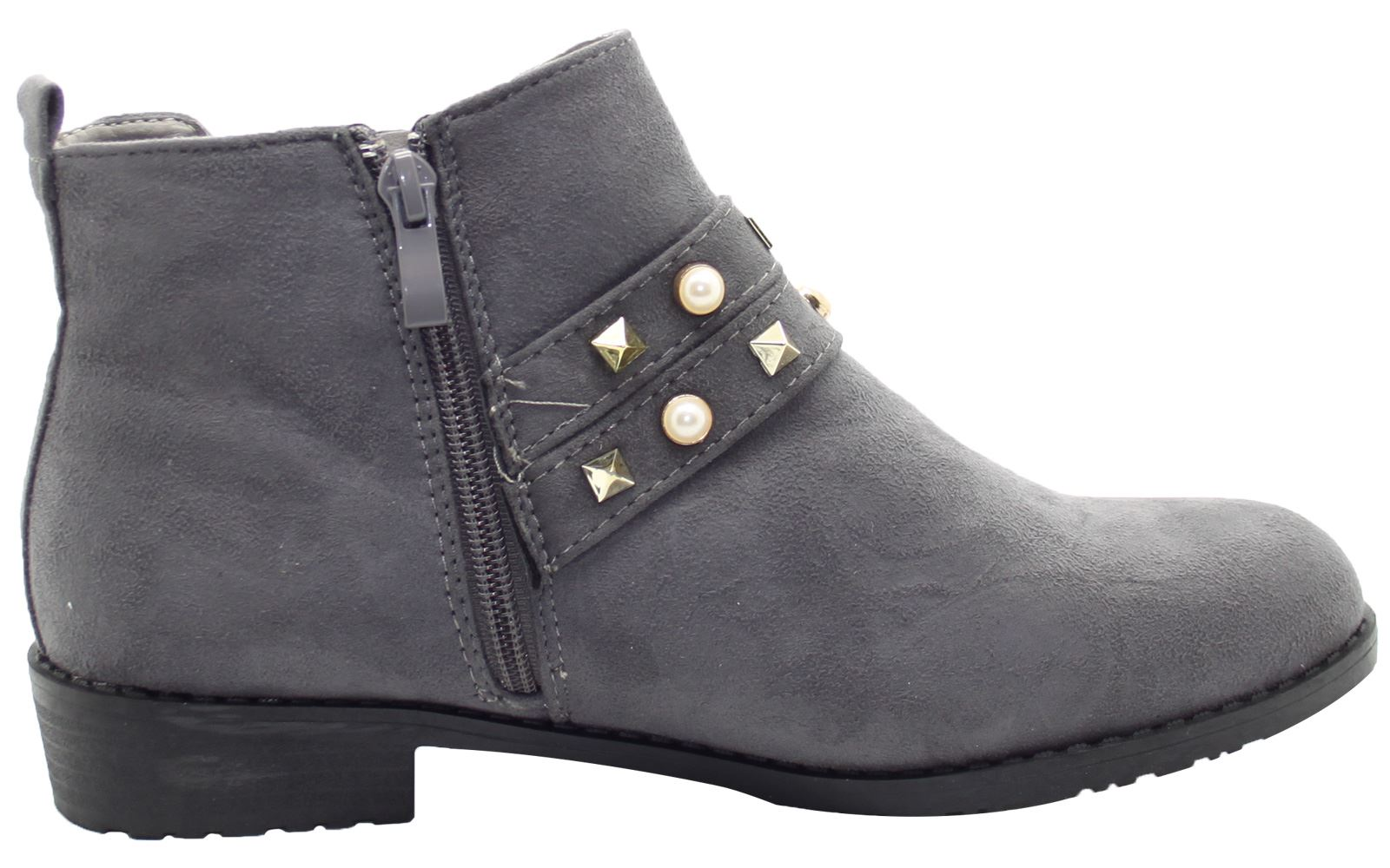 New-Women-Chelsea-Ankle-Boots-Winter-Block-Heel-Ladies-Biker-Style-Boots thumbnail 16