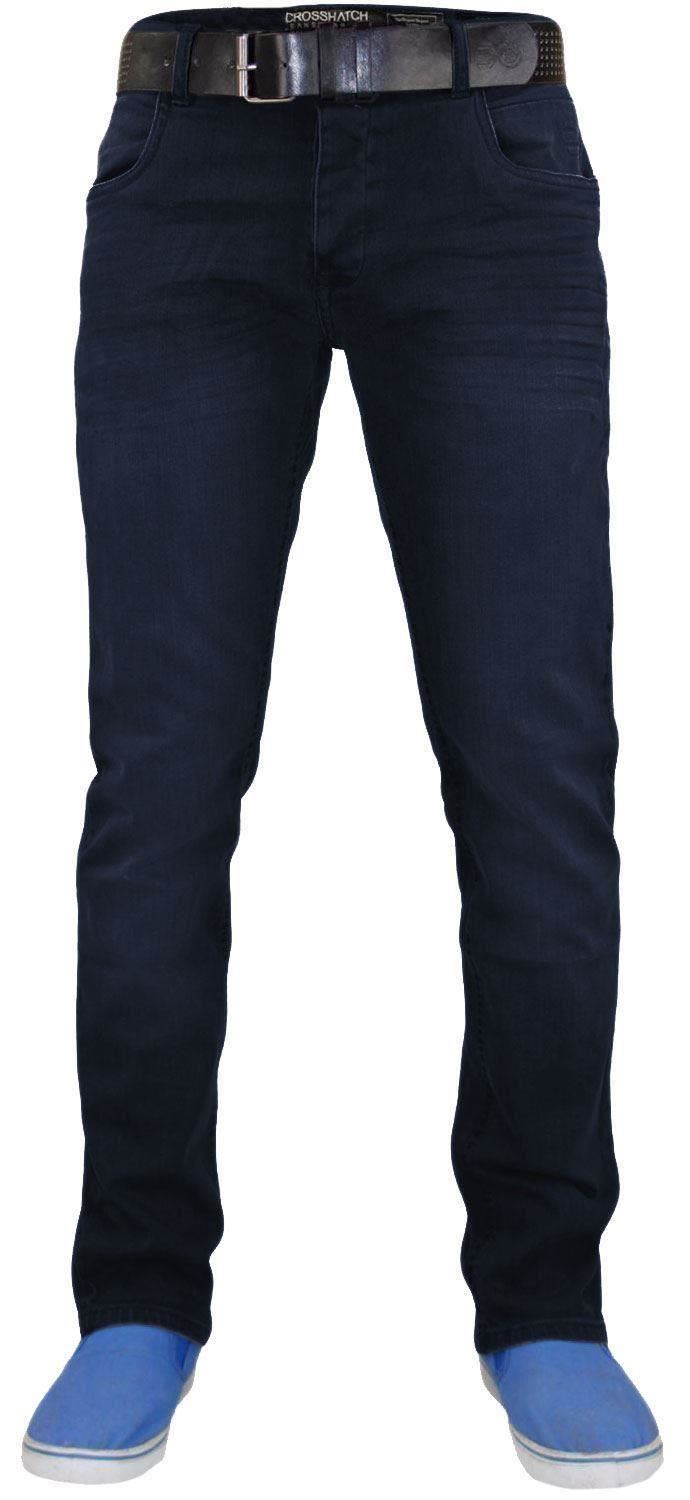 Crosshatch-Mens-Denim-Jeans-Straight-Fit-Stretch-Cotton-Trousers-Pants-Free-Belt thumbnail 8