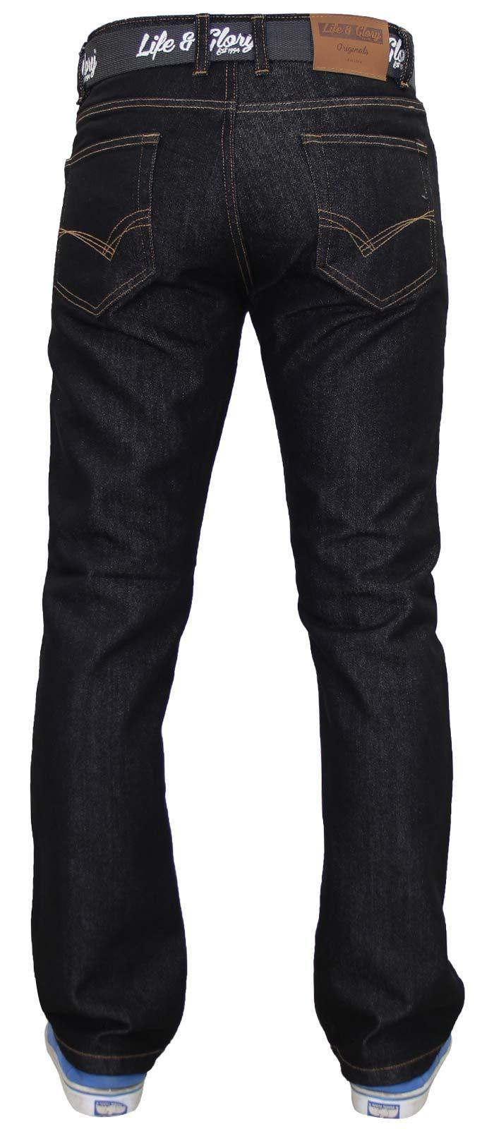 Mens-Regular-Fit-Jeans-Straight-Leg-Denim-Pants-Casual-Trousers-With-Free-Belt thumbnail 6