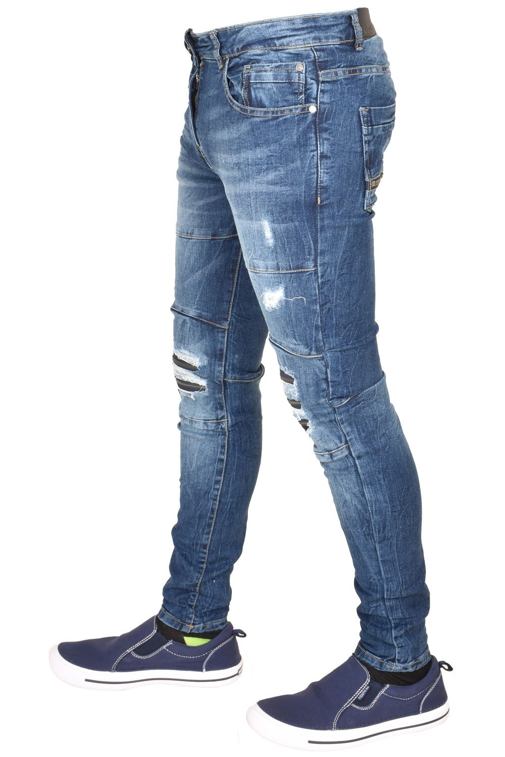 Enzo-Mens-Ripped-Jeans-Skinny-Slim-Fit-Denim-Pants-Casual-Trousers-Size-28-40 thumbnail 9